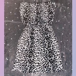 Strapless Tube Top Leopard Mini Dress with pockets